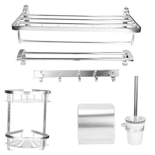 Juego de estantes de Almacenamiento para baño, Estante de Almacenamiento Aluminio montado en la Pared + toallero + Juego de escobillas de Inodoro + Caja de pañuelos + Estante de Esquina + Ganchos