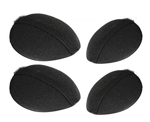 4Pcs(2 Large+2 Small) Sponge Bump It Up Volume Hair Stick Pad Hair Base Styling Insert Tool Hair Bun Maker Hair Accessories(Black)