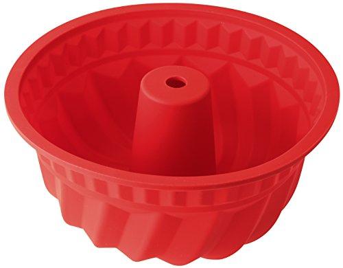 Dr.Oetker 1269 Moule à Kouglof, moule à kougelhopf, moule à gâteau, Silicone, Rouge, 22 cm