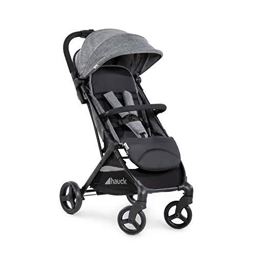 Hauck Sunny súper ligera y compacta para transporte urbano y peso hasta 25 kg con respaldo reclinable, mecanismo de plegado automático, muy pequeño, cesta grande, negro gris