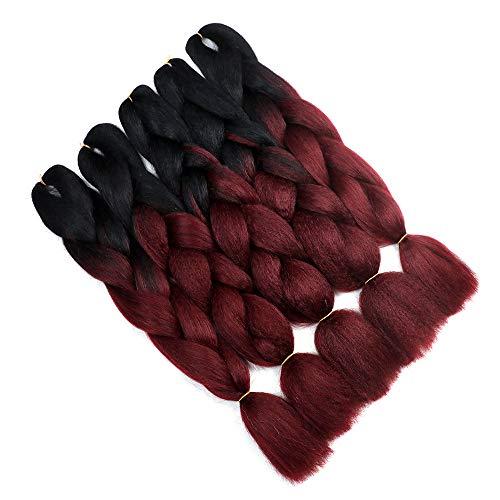 YMHPRIDE Ombre Kanekalon Geflochtene Haare 24 Zoll(61 cm) 5Stk. 100g 2Tone synthetische geflochtene Haare(schwarz weinrot)