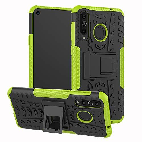 TiHen Handyhülle für Samsung Galaxy A8S Hülle, 360 Grad Ganzkörper Schutzhülle + Panzerglas Schutzfolie 2 Stück Stoßfest zhülle Handys Tasche Bumper Hülle Cover Skin mit Ständer -Grün