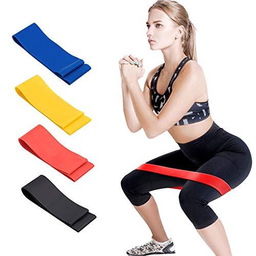 BrilliStar Fitnessbänder Set 4 Gymnastikband Widerstandsbänder Tragebeutel Trainingsband Übungsband Loop Bänder Festigkeits Trainings Trainingsband(Blau gelb rot schwarz)