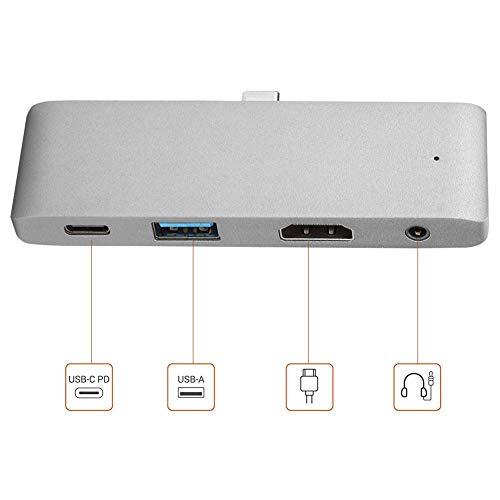 USB C Hub, 4 in 1 USB-C to HDMI +3.5MM+USB+PD Hub Type-C Docking Station for Type C Laptops, Multi-Port USB-C Adapter Docking Station