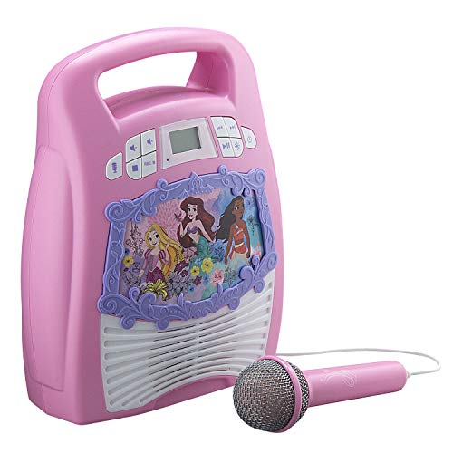 eKids Disney Princess Karaoke Machine for Kids, Bluetooth Speaker with Microphone and Karaoke Recorder to Save and Share Performances Via USB Port, for Fans of Disney Princess Gifts
