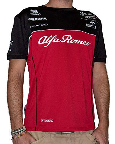 Alfa Romeo Racing Camiseta para Hombre Alfa Romeo Sauber tee 2024, Color Rojo, Negro y Blanco, XL