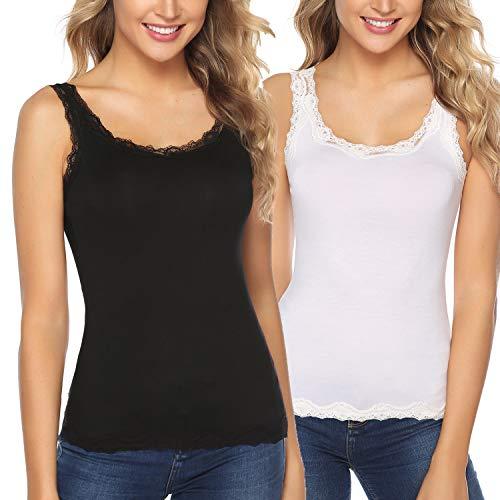 Abollria Damen Tanktop Baumwolle Basic Spitzentop Weich Stretch Unterhemd(2er-Pack) mit zarter Spitze,schwarz+weiß,XL