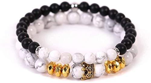 FLYAND Pulsera de Piedra Mujer, 7 Chakra Blanca Natural Bead Blanco Turquesa Pulsera Elástica Lucky Bangle Yoga Bola de Oro Joyería de Moda para Mujer