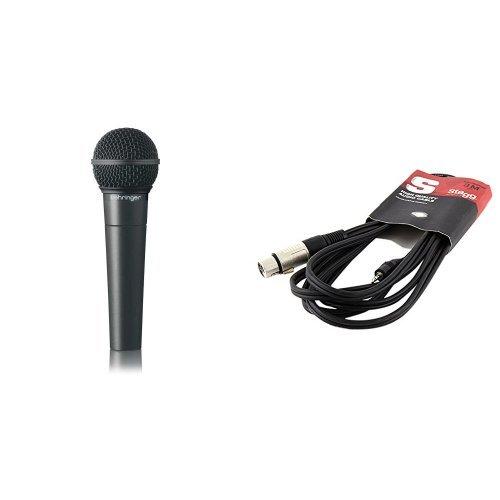 Behringer Ultravoice XM8500 Dynamisches Gesangsmikrofon mit Nierencharakteristik + Stagg SAC3MPSXF Audio Kabel (3m, mini-Stereo Klinke, Stecker-auf-XLR Buchse) Bundle
