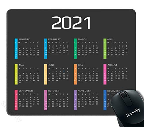 Smooffly 2021 Calendar Mouse Pad Anti-Slip Personalized Rectangle Gaming Rubber Mousepad