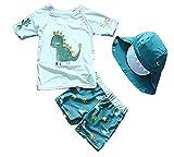 Sunbaby Baby Kleinkind Jungen Zwei Stücke Badeanzug Set Bademode Dinosaurier Badeanzug Rash Guards mit Hut UPF 50+(9-18 Monate/Höhe 73-85 cm)