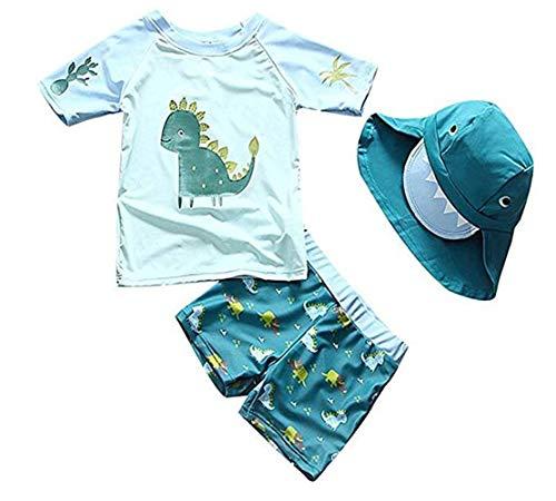 Sunbaby Baby Kleinkind Jungen Zwei Stücke Badeanzug Set Bademode Dinosaurier Badeanzug Rash Guards mit Hut UPF 50+(5-6 Jahre/Höhe 122-130 cm)