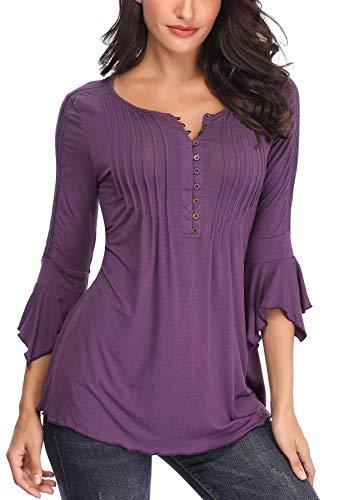 MISS MOLY Bluse Tunika Oberteile Damen Sommer Shirt Sexy V-Ausschnitt Tuniken Bluse Violett XX-Large