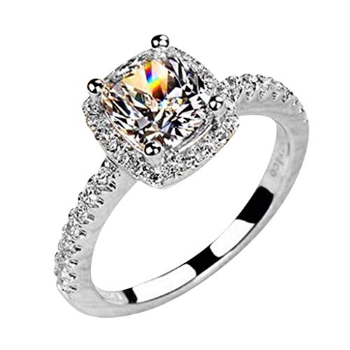 WoCoo Jewelr,Sparkling Bridal Wedding Fashion Engagement White Gold Color Rings for Women(Silver,9)