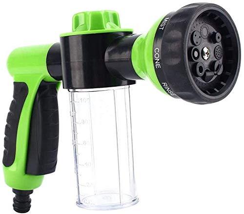 CYFCXK Pistola de Agua de Espuma Espuma de cañón de cañón Pulsador de mangueras Dispensador Blaster Lavado Pistola 8 Patrones de riego Lavado Limpieza