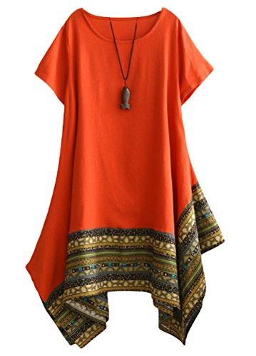 Vogstyle Damen Sommer Kleid Kurzarm Unregelmäßige Saum Ethnisch Mischfarben Baumwolle Leinen Lang Bluse Shirt Orange M