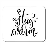 """ゲーミングマウスパッドステイウォームハンドレタリング碑文冬の休日クリスマステキスト9.5"""" x 7.9""""装飾オフィス滑り止めラバーバッキングマウスパッドマウスマット"""