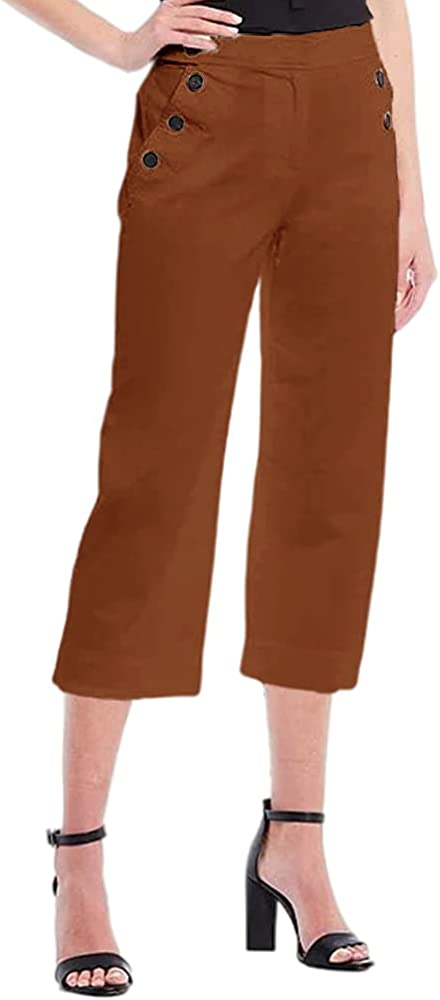 Women's Cropped Trousers Casual Straight-Leg Pants with Buttons On Pockets