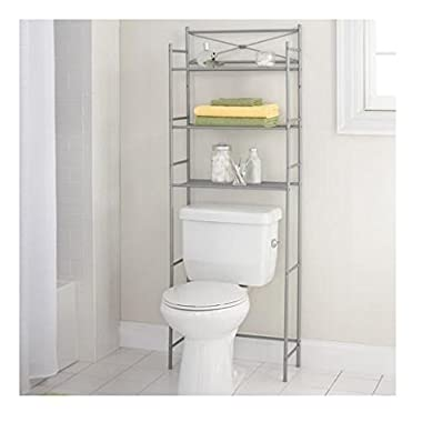 Mainstay.. 3-Shelf Bathroom Space Saver Storage Organizer Over The Rack Toilet Cabinet Shelving Towel Rack (Satin Nickel)
