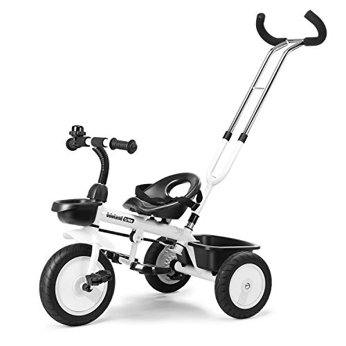 Welspo 3 in1 Kids Tricycles Easy Steer Toddler Tricycle for 15 Years Old Kids Trike with Safety Seat Storage Basket Foot Pedals BlackampWhite