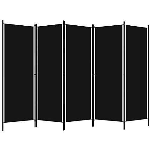 Tidyard Biombo Divisor de 5 Paneles Biombo Separador Plegable para Habitación Dormitorio Negro 250x180 cm