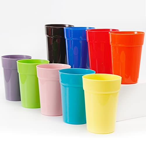 Youngever 18 Pack 360ml Plastic Kids Cups, Kids Drinking Cups, Toddler Cups, Unbreakable Drinking Glasses, Plastic Tumblers in 9 Assorted Colors