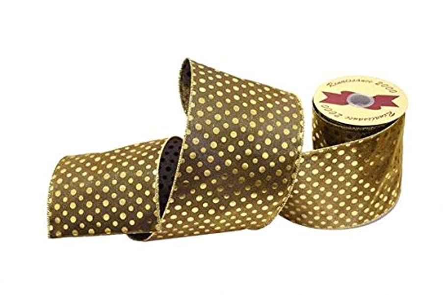 Renaissance 2000 28912 Fabric Ribbon Antique Green/Gold