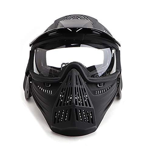 Paintball Maske mit Schutzbrille Schutzmaske Taktische Full Face fur Airsoft Softair Halloween CS Partyspiel Schwarz & Klar Linsen