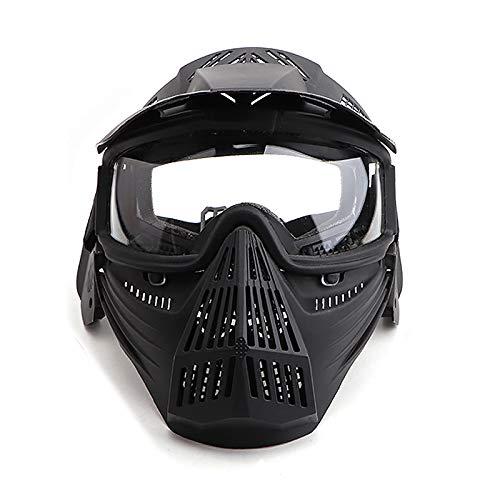 Paintball Maske mit Schutzbrille Schutzmaske Taktische Full Face fur Airsoft Softair Halloween CS Partyspiel Schwarz & Klar Linsen