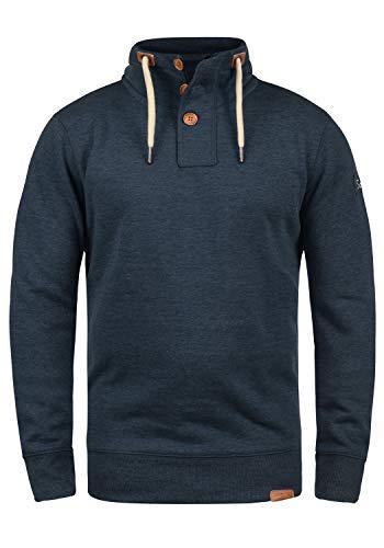 !Solid TripTroyer Herren Sweatshirt Pullover Troyer Pulli Mit Stehkragen Und Knopfverschluss, Größe:M, Farbe:Insignia Blue Melange (8991)