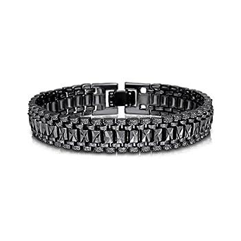 U7 Teen Boys Wristchain Bracelet 19CM Long 12MM Wide Black Gun Plated Cool Masculine