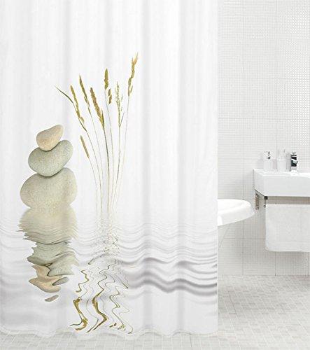 Duschvorhang Balance 180 x 200 cm, hochwertige Qualität, 100prozent Polyester, wasserdicht, Anti-Schimmel-Effekt, inkl. 12 Duschvorhangringe