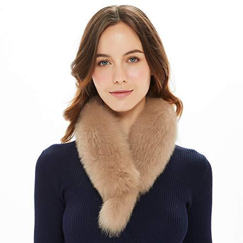 Ferand - Bufanda de piel de zorro para mujer marrón...