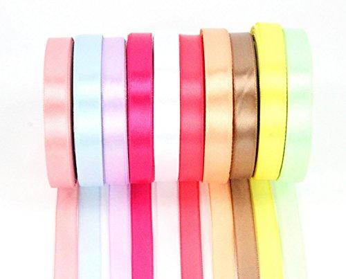 ZADAWERK® Satinband - Pastell - 12 mm x 23 m - 10 Rollen - Dekoration