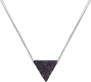 Triangle Lava Bead Essential Oil Diffuser Necklace,Lava Stone Necklaces Essential Pendant Aromatherapy Jewelry