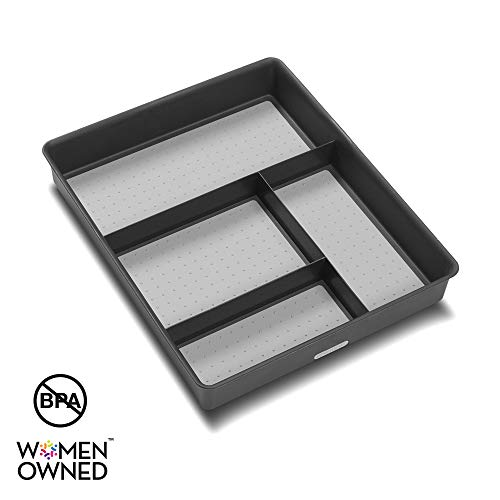 madesmart Basic Gadget Tray Organizer - Granite | BASIC COLLECTION | 4-Compartments | Multi-Purpose Storage | Soft-grip lining and Non-slip Rubber Feet | Easy to Clean | Durable | BPA-Free