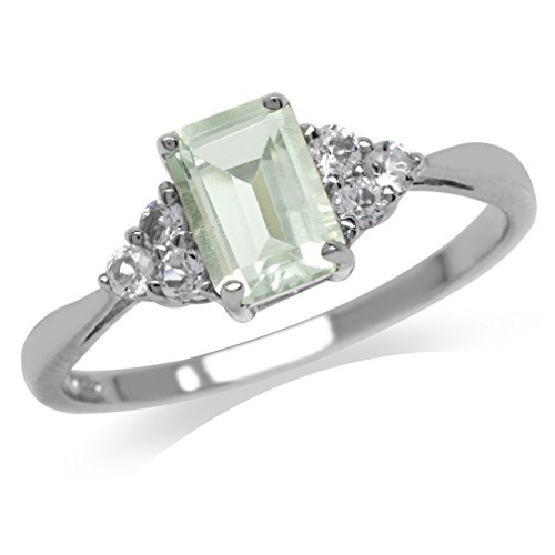 Silvershake 1.09ct. Natural Green Amethyst and White Topaz 925 Sterling Silver Engagement Ring Size 5.5