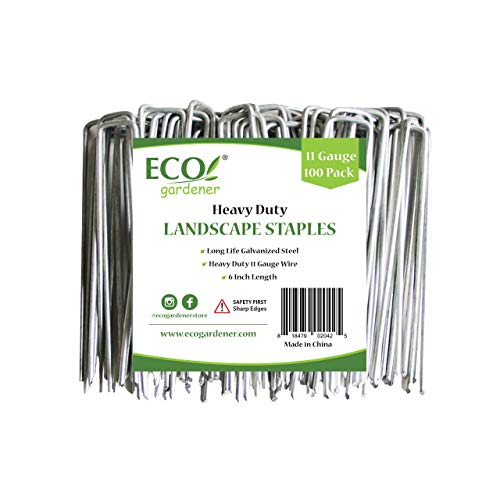 ECOgardener Extra Heavy Duty Galvanized Weed Barrier Landscape Fabric Staples