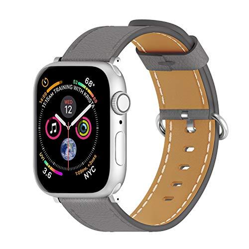 ARTCHE Uhrenarmband Rindsleder 38mm 40mm für Apple Watch, Vintage Uhrenarmbänder Leder Verstellbarer Armband für Uhr, Uhren Band kompatibel mit Iwatch Serie 6 SE 5 4 3 2 1, für Männer Frauen-Grau