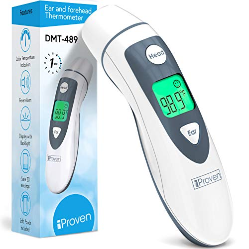 iProven Medical Digital Ear Thermometer with Temporal Forehead Function - Clinically Approved Upgraded Infrared Lens Technology DMT-489 for Better Accuracy - New Medical Algorithm (White Grey)