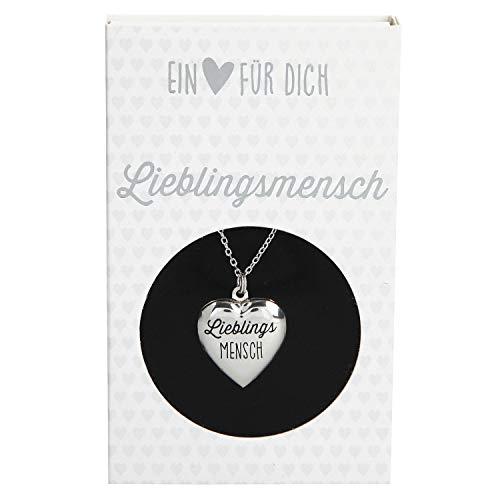 Depesche 10801.010 Halskette mit Herzanhänger Medaillon, versilbert und nickelfrei, mit Aufschrift Lieblingsmensch, Länge 40 46 cm