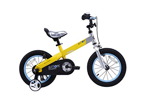 RoyalBaby CubeTube Kid's bikes, unisex children's bikes with training wheels, various trendy features, gifts for fashionable boys & girls, Matte Yellow Buttons, 16 inch