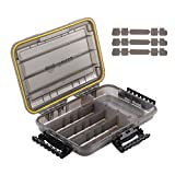 RUNCL Fishing Tackle Box, Waterproof Storage 10.65' L x 7.1' W x 1.89' H - Thicker Frame, 360° Waterproof Seal, Secure-Locking Latches, Sun Protection, Removable Dividers - Storage Organizer Box
