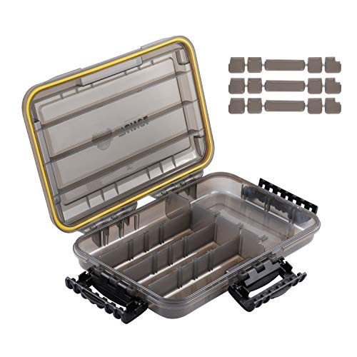 """RUNCL Fishing Tackle Box, Waterproof Storage 10.65"""" L x 7.1"""" W x 1.89"""" H - Thicker Frame, 360° Waterproof Seal, Secure-Locking Latches, Sun Protection, Removable Dividers - Storage Organizer Box"""