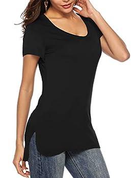 Florboom Womens Loose SummerTees Split Longline Tshirts Oversized Tunic Tee Black 2XL