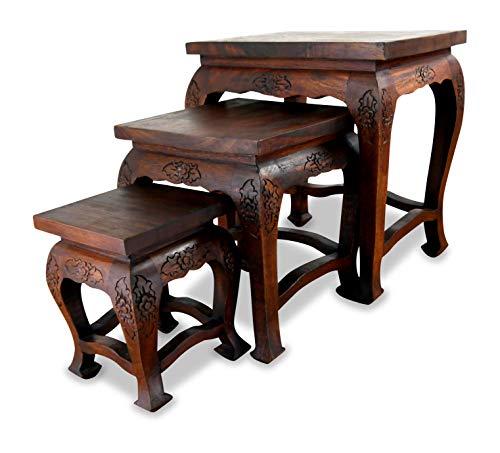 livasia Hoher Opiumtisch im 3er Set | Massivholz Beistelltisch | Asiatische Blumenhocker | Couchtisch der Marke Asia Wohnstudio (Thailand) | Asiatische Möbel