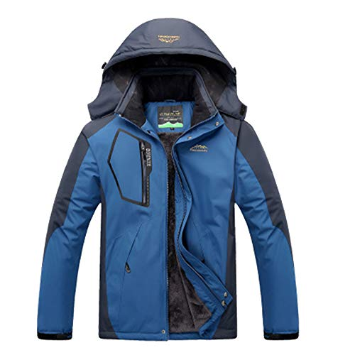 LiangZhu Unisex Herren Verdicken Skijacke Mit Kapuze Outdoorjacke Winddicht Wasserdicht Atmungsaktiv Männer Winterjacke Denim Blue Men L