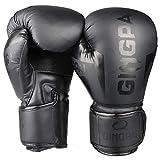 GINGPAI MMA Guantes de Boxeo, UPC Bolsas de Guantes para Boxeo, para Fitness, Muay Thai, Kickboxing, Grappling Training para Hombres y Mujeres Guantes Boxeo Gel | Transpirable (Negro, 10Oz)