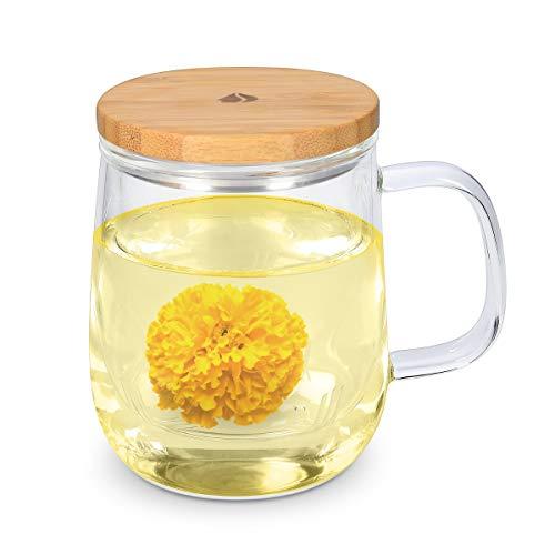 Navaris Taza para té de Vidrio de borosilicato con Filtro y Tapa - Taza para infusión con Filtro de Cristal y Tapa de bambú - 500ML