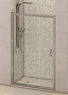 Mampara de ducha frontal 3 hojas correderas con cristal transparente templado de seguridad de 6mm modelo Bricodomo Madrid ANCHO 140CM (medida adaptable 136 a 140cm)